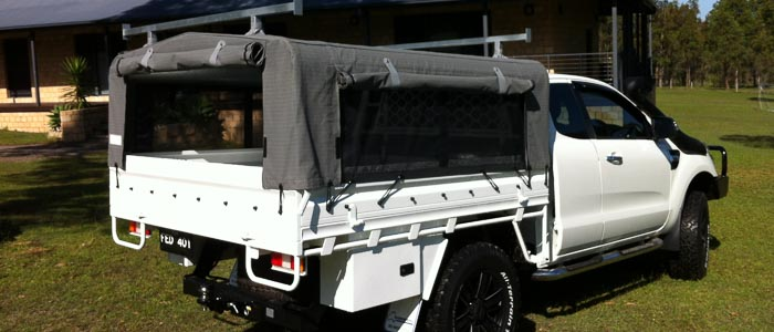 Picture of nice ute with an ians campers canvas canopy